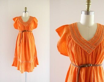 70's tangerine gauze cotton dress