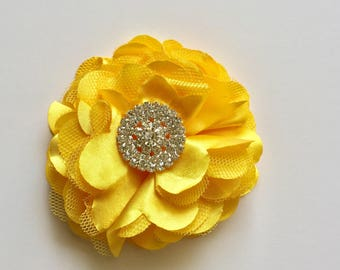 Satin flower clip or pin with large rhinestones in ivory, eggplant, teal, grey, white, yellow, navy, mint, black, silver and dusty rose.