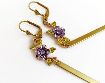 Elegant Statement Earrings, Rhinestone Flower Earrings, Long Drop Bohemian Earrings Gift for Her