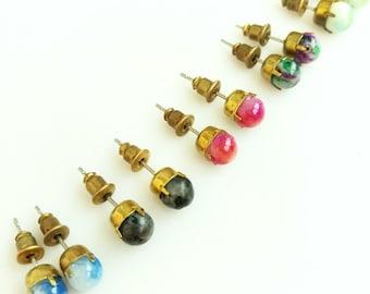 Simple Gemstone Studs, Everyday Stud Earring, Colorful Jade Studs