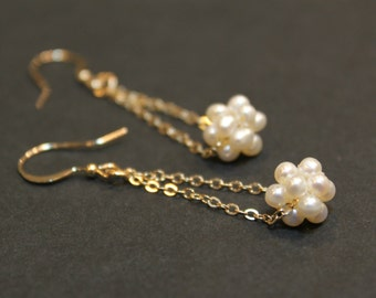 Gold Filled Pearl Ball Handmade Minimalist Earrings