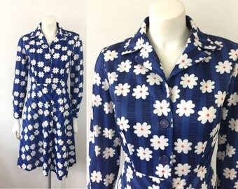Vintage 1970s Blue Striped Dress with White Flowers