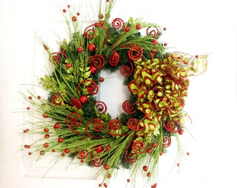 Christmas Wreath * Red and Green Wreath * Holiday Wreath * Front Door Wreath * Red Wreath * Christmas Decoration * Holiday Decor * Mantel