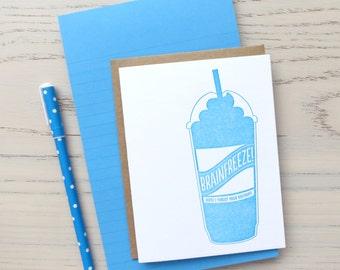 brainfreeze belated birthday letterpress card