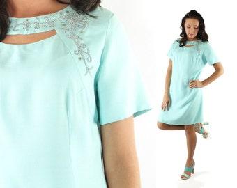 Vintage 60s Shift Dress Short Sleeve Blue Linen Cutout Rhinestones 1960s Large L