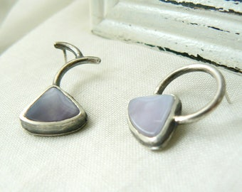 Oxidized sterling silver and Agua Nueva Agate Earrings - Asymmetry handmade jewelry