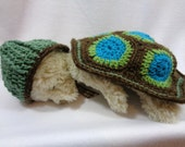 RESERVED Crochet Turtle Cover and Hat, Green, Blue and Brown Turtle Photo Prop with Hat and Blanket, Baby Photo Prop Made for Danielle