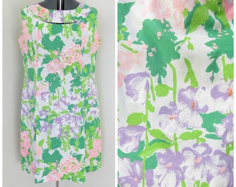 Vintage 1960s Pastel Floral Shift Dress - Womens Bust 42 - With Cutouts & Pleats by Melwine of Miami