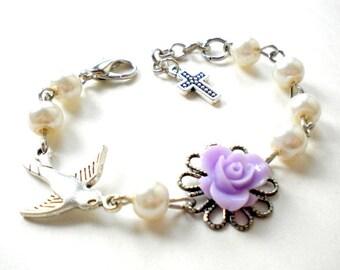 Christening Bracelet Gift For Toddler Baptism Bracelet Catholic Rosary Bracelet Newborn Jewelry Lavender Bracelet Bird and Pearl Bracelet