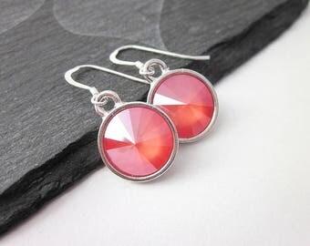 Coral Drop Earrings -- Coral Swarovski Earrings -- Coral Peach Earrings -- Coral Crystal Drops -- Light Coral Swarovski Earrings