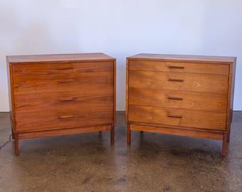 Pair of Mid-Century Modern Walnut Dressers