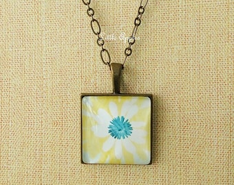 Flower art print glass tile pendant necklace bronze minimal simple white blue yellow, fall autumn, abstract painting, wearable art