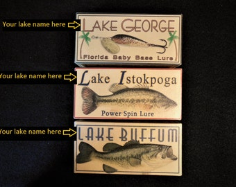 Lake house decor personalized vintage look fishing lure boxes 4YourLake