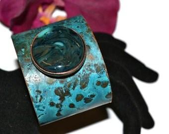 Copper Patina Cuff Bracelet, Fused Glass, Brass Cuff Bracelet, OOAK, Unique Gift, Statement Jewelry, Turquoise