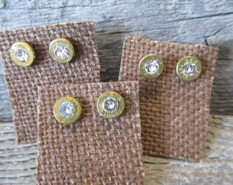 One pair 9mm Earring Studs, 9mm with clear crystal  - Ready to Ship Today