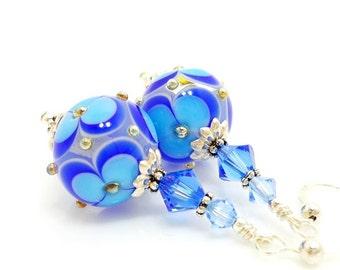 Blue Earrings, Flower Earrings, Lampwork Earrings, Glass Bead Earrings, Glass Art Earrings, Floral Earrings, Unique Earrings, Floral Earring