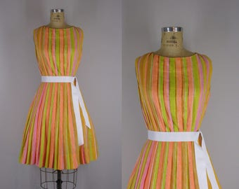 1950s Vintage Dress / Jerry Gilden Striped Summer Dress / Accordion Pleated Dress