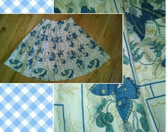 Vintage Dirndl Skirt with Blue Butterflies and Foliage