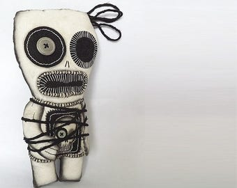 Voodoo Art Goth Gothic Creepy Art Doll Textile Scary Creepy