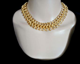 Vintage Goldtone Heavy Chain Collar Necklace