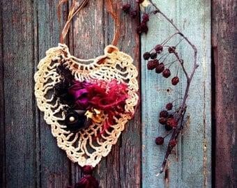 Bohemian Gypsy Shabby Jewelry. Woodland Mori Girl.  Burgundy Pink Ecru . Organza Ribbons. Crochet Heart. Handmade .