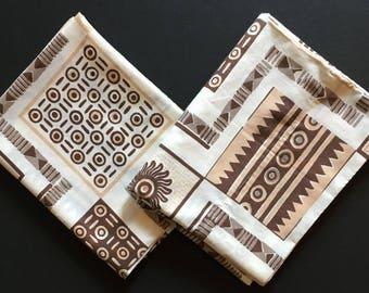2 Vtg Pillowcases  - Brown Beige Geometric Design - Standard / Queen