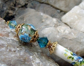 Pre Christmas Sales Event Blue Rose Japanese Tensha Hair Stick with Crystals Floral Hairstick Geisha Oriental Flower Hair Sticks Hairstick H