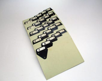 Vintage Metal Tab File Dividers, Industrial A thru Z Metal Tabbed Dividers for 6 x 4 Inch Index Cards