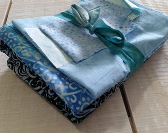 Icy blue batik fabric bundle - destash/remnant #007