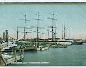 Sailing Ships Charleston Harbor South Carolina 1910c postcard