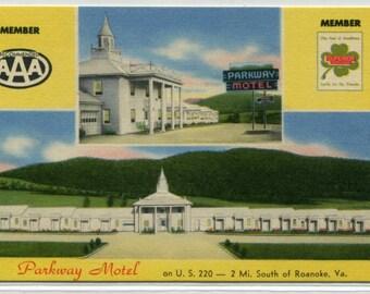 Parkway Motel US 220 Roanoke Virginia linen postcard