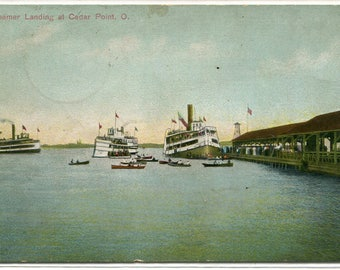 Steamer Landing Cedar Point Ohio 1913 postcard