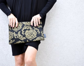 EXTRA LARGE CLUTCH, gold print, clutch bag, vegan clutch, evening bag, vegan clutch, clutch purse, women's clutch, black clutch, clutch