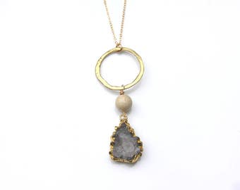 One of a Kind Druzy Necklace - 14K gold filled - Handmade