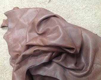 CLFE192.  Auburn Brown Embossed Anasazi Leather Deerskin