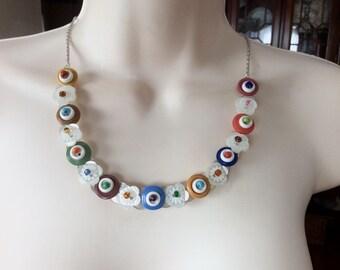 Springtime Blooms button necklace