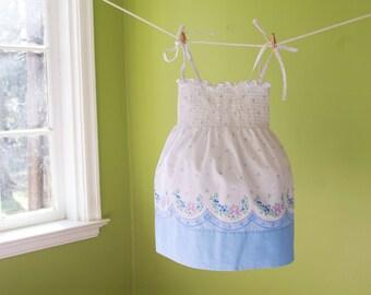 Girls M (3t/4t) Smocked Vintage Pillowcase Sundress- Little Girls Blue Scalloped Border Print- White & Blue Floral Easter Dress
