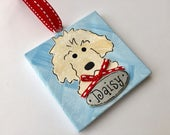 Hand Painted and Personalized 3x3 Goldendoodle ornament