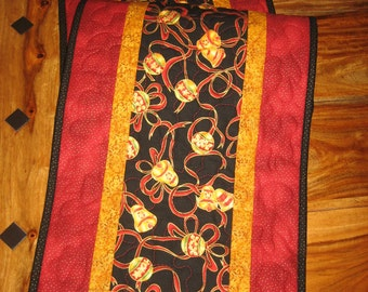 "Christmas Table Runner, Red Gold Ornaments, 13 x 46"" Quilted Reversible 100% Cotton Fabrics Free Shipping"