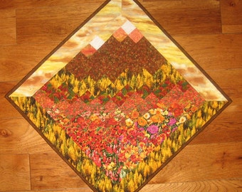 Art Quilt, Fall Sunset Mountains Diagonal Wall Hanging, Landscape Art Quilt, Quilt Wall Hanging