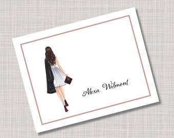 Custom Fashion Girl Graduation Thank You Note Cards
