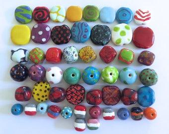 Kazuri Beads, 50 Kazuri Beads, Rainbow Coloured Ceramic Beads, Kazuri African Beads No. 68