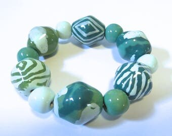 Kazuri Bangle, Teal Green and Light Blue Ceramic Bracelet