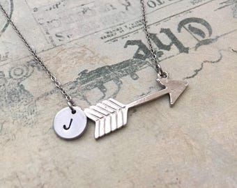 Arrow Necklace, Initial Necklace, Hand stamped Necklace, Friendship Necklace, Handmade Jewelry, Bridesmaid Gift, Gift for Her