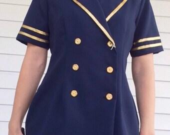 Sailor Star Blue Blouse Retro Nautical Jacket Top Pants Vintage 1980s 80s S