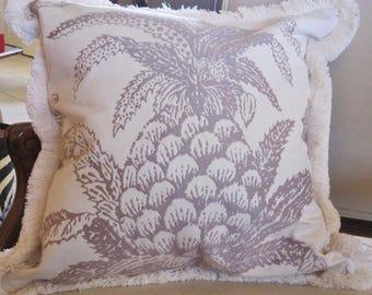"""Lee Jofa Pineapple 20x20"""" Pillow Cover Velvet Cream Brushed Fringe Gorgeous!"""