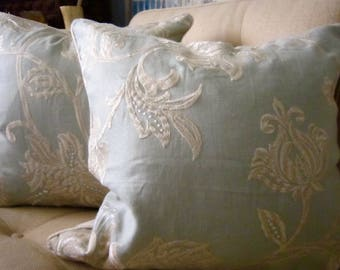 "SCALMANDRE Embroidered Ice Blue  Cream 20x20"" Pillow Cover Braid Trim White Very Fresh!"