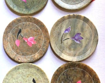 Set of 6 Stone Coasters with Inlay