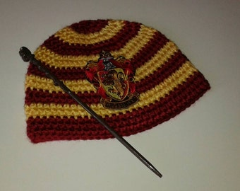 Harry potter crocheted beanie with a wand, gryffindor  school hat, toddler beanie, adult beanie, red and gold hat, wand, ready to ship