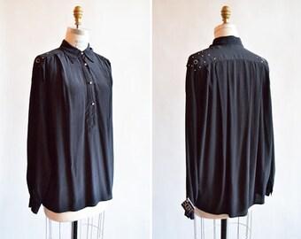 Vintage made in ITALY black embellished silk blouse